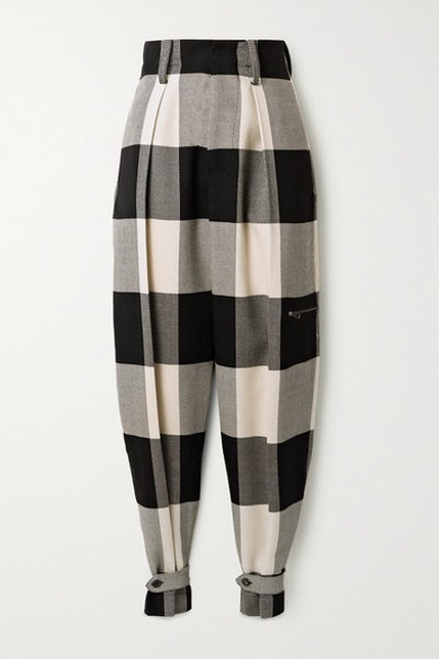 Checked Wool Tapered Pants