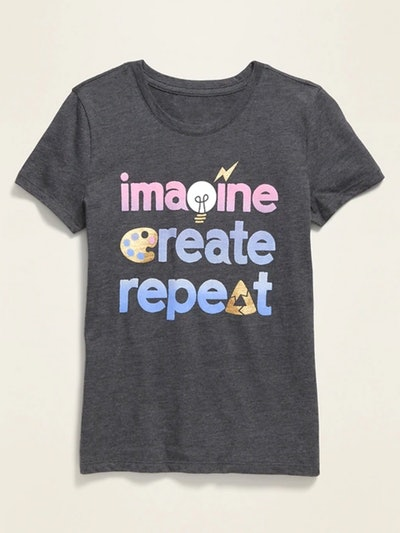 Graphic Crew-Neck Tee for Girls - Imagine, Create, Repeat