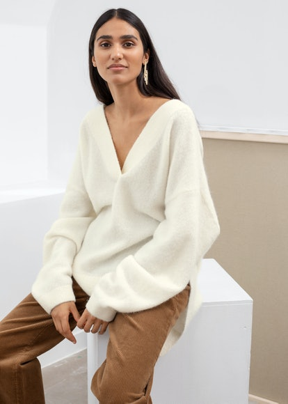 Oversized V-Neck Alpaca Blend Sweater