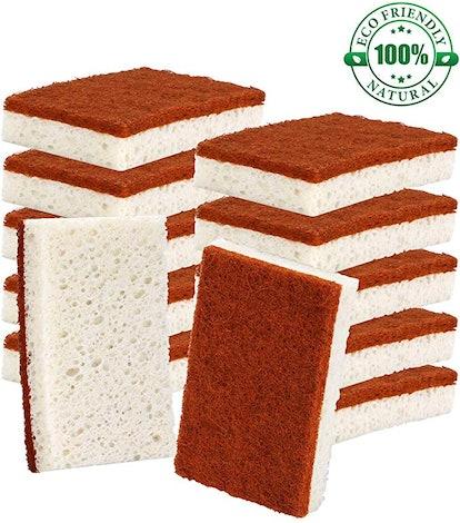 PANYEE Natural Plant Based Scrub Sponge (12-Pack)