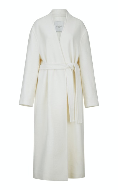 Collarless Gabardine Coat