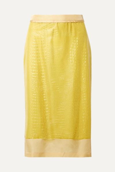 Sula Layered Croc-Effect Vinyl and Silk-Satin Midi Skirt