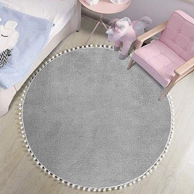 LEEVAN Faux Wool Round Rug