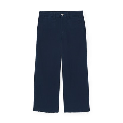 High-Rise Wide-Leg Cropped Chinos