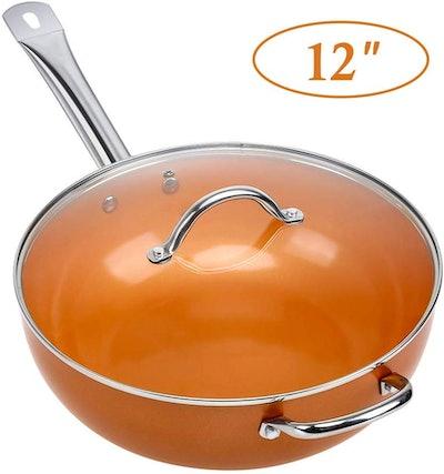 SHINEURI Nonstick Ceramic Copper 12-Inch Pan