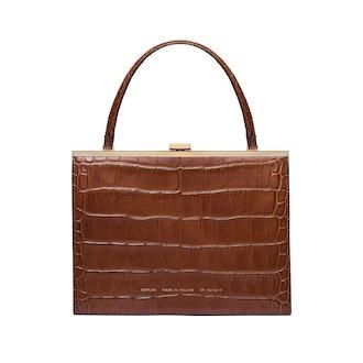 """Vintage"" Clasp Bag ""Glossy Caramel Crocodile"""