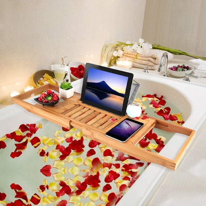 Trotinic Bamboo Bathtub Caddy Tray
