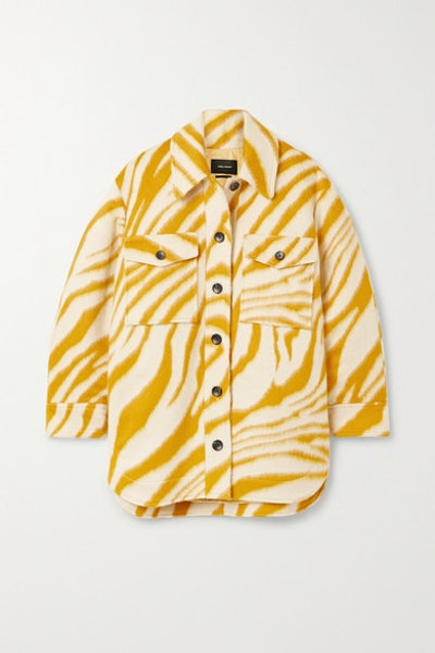 Harvey Oversized Zebra-Print Brushed Wool Jacket