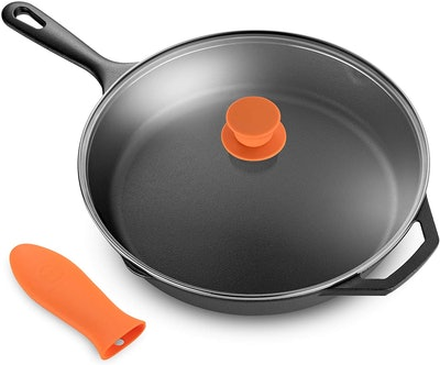 Legend 12-Inch Cast Iron Skillet with Glass Lid & Silicone Handle