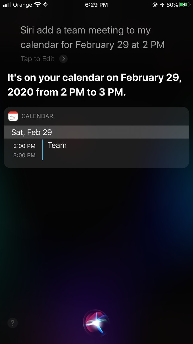 You can add calendar events through Siri.