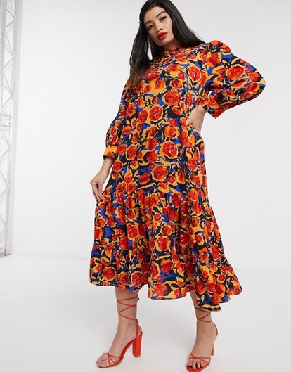 ASOS Never Fully Dressed Plus frill neck swing midaxi dress in contrast floral print