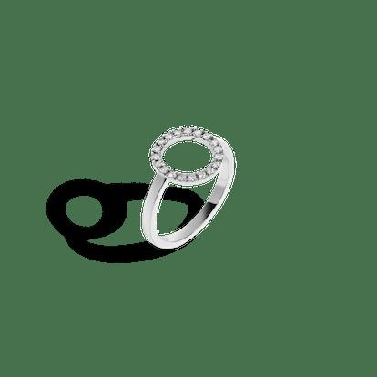 White Gold Diamond Circle Ring with White Diamonds