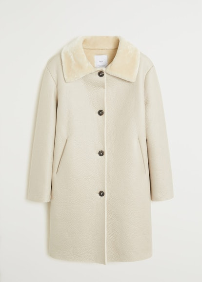 Faux Shearling-Lined Lapel Coat
