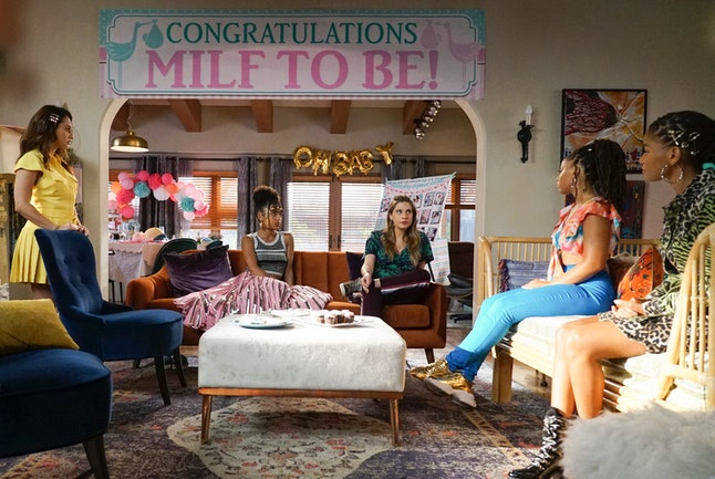 The roommates threw Nomi a baby shower on the Feb. 13 episode of 'grown-ish.'