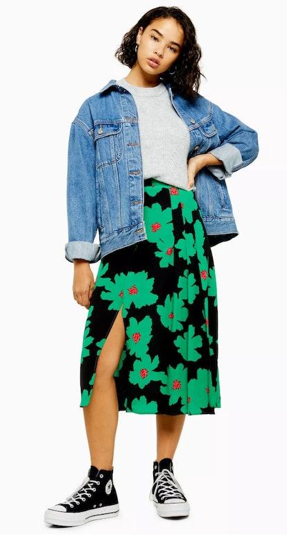 Topshop PETITE Green And Black Floral Pleat Midi Skirt
