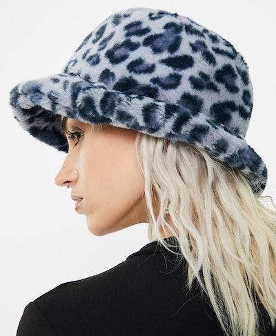 Blue Leopard Fluffy Bucket Hat