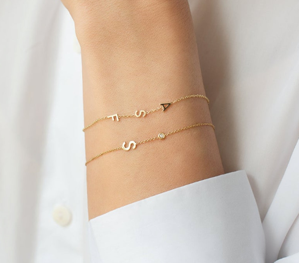 14K Gold Letter and Bezel Diamond Bracelet
