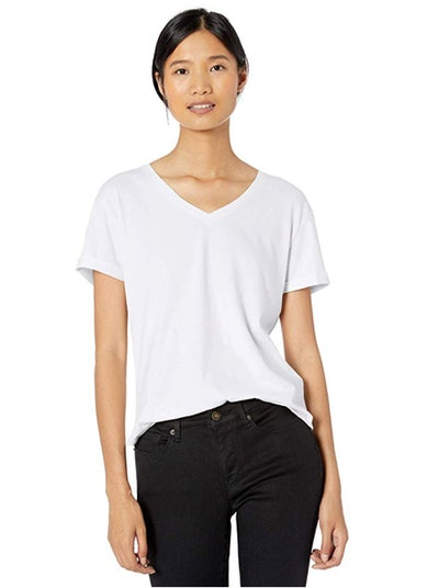 Goodthreads Women's Washed Jersey Cotton Roll-Sleeve V-Neck T-Shirt
