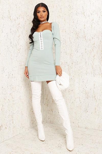 Sage Bengaline Hook And Eye Frill Hem Bodycon Dress