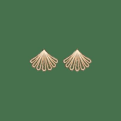 Yellow Gold Deco Fan Gold Earrings