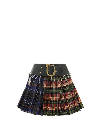 Pleated Tartan-Check Wool-Blend Mini skirt