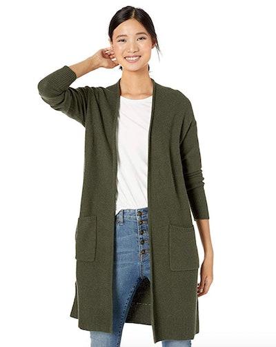 Goodthreads Women's Wool Blend Honeycomb Longline Cardigan Sweater