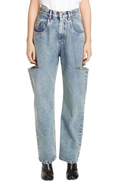 Side Slit Wide Leg Jeans