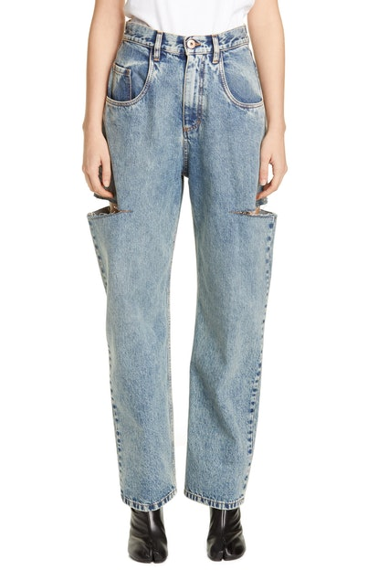 Side Slit Wide Leg Jeans