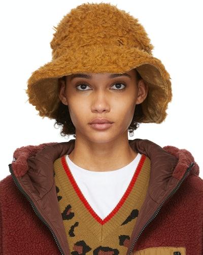 Reversible Brown Wool Hairy Hat