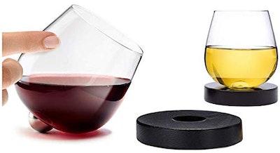 Aura Glass Stemless Aerating Wine Glasses (Set Of 2)