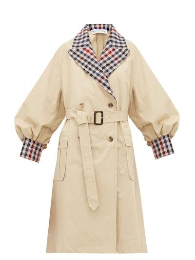 Contrast-Trim Cotton-Gabardine Trench Coat