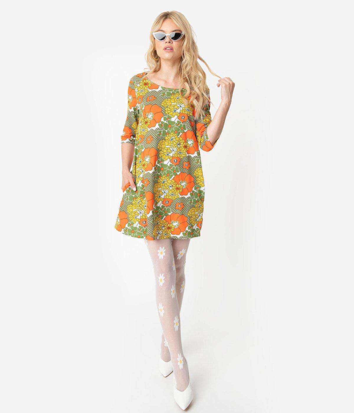 Unique Vintage 1960s Style Olive Green & Orange Retro Floral Print Cotton Tunic Dress