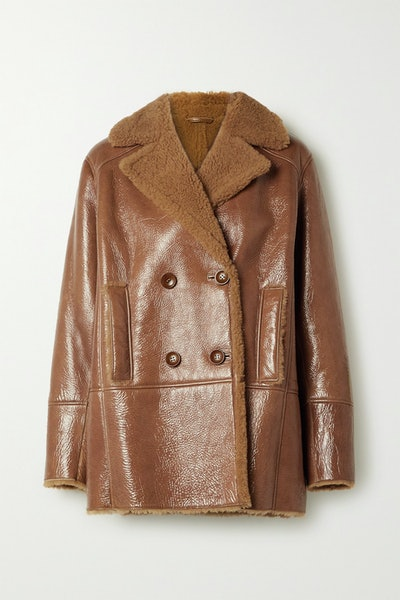 Ray Double-Breasted Shearling-Lined Glossed Textured-Leather Jacket