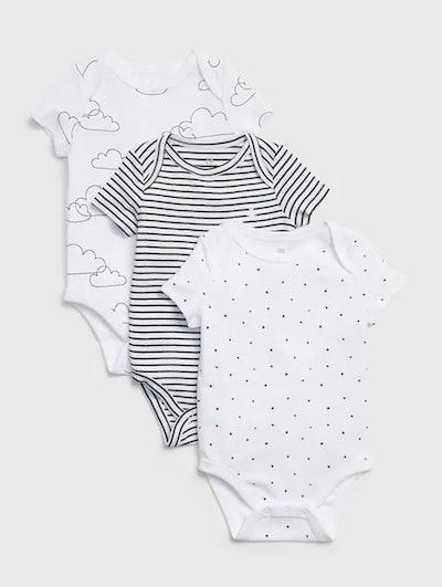 Baby Print Short Sleeve Bodysuit (3-Pack)