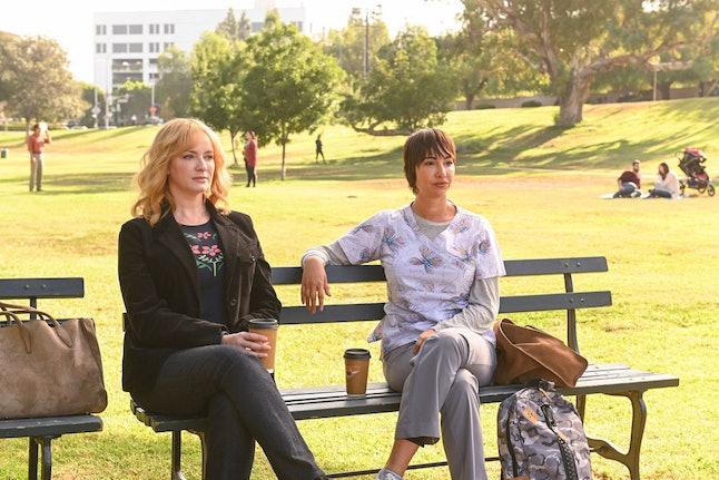 "GOOD GIRLS -- ""Find Your Beach"" Episode 301 -- Pictured: (l-r) Christina Hendricks as Beth Boland, Jackie Cruz as Rhea."