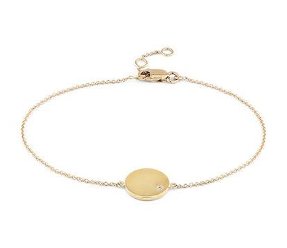 Mini Diamond Accented Engravable Disc Bracelet