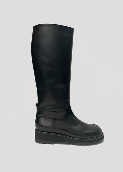 Lug Sole Tall Boots in Black