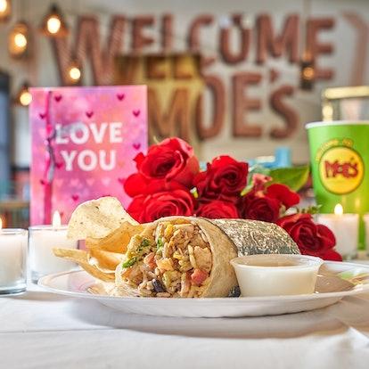Moe's free queso on Valentine's Day, moe's burrito