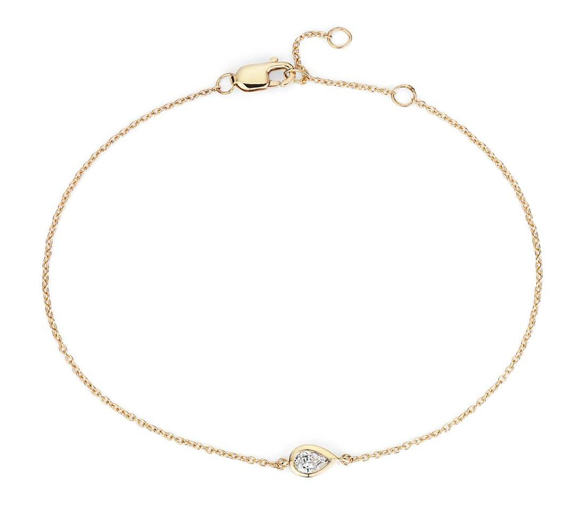 Mini Bezel Set Pear Cut Diamond Bracelet