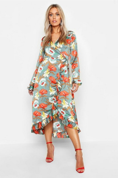 boohoo Plus Floral Satin Ruffle Wrap Dress