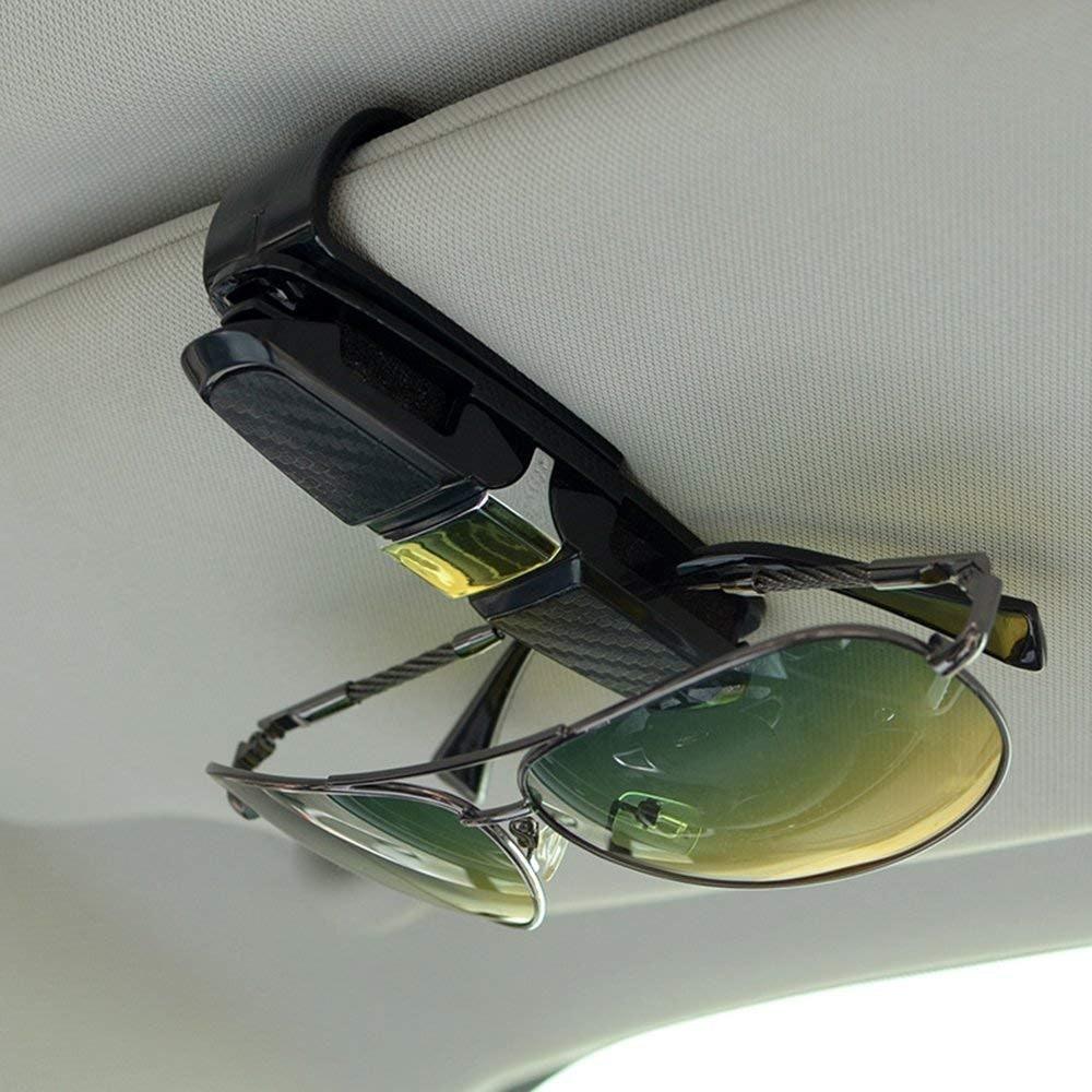SENHAI Eye Glasses Organizer Box /& Glasses Holders Clip for Car Sun Visor Sunglasses Case Mount with Credit Card Clip Fits All Vehicle Models