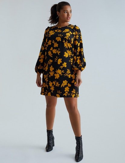 Eloquii Printed Puff Sleeve Dress