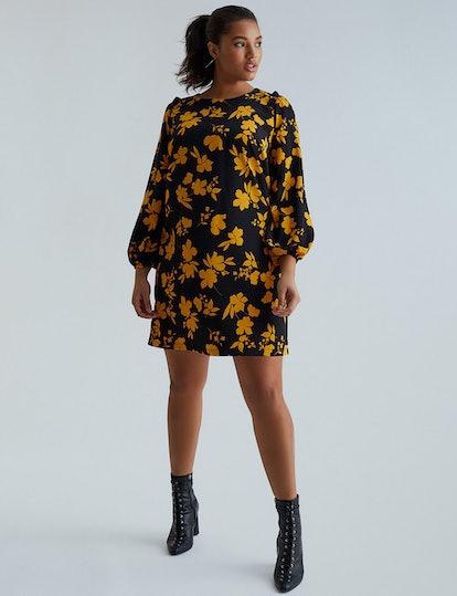 Eloquii Printed Puff Sleeve Dress