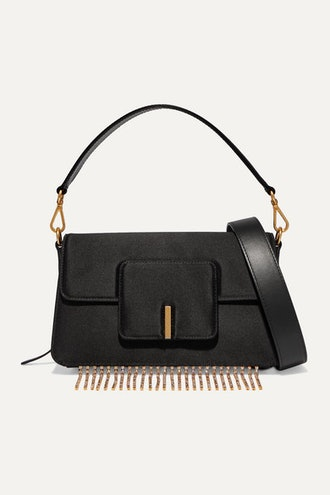 Georgia Leather-Trimmed Crystal-Embellished Satin Shoulder Bag