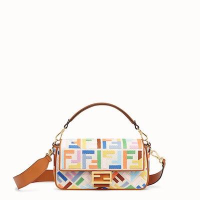 Beige Canvas Baguette Bag
