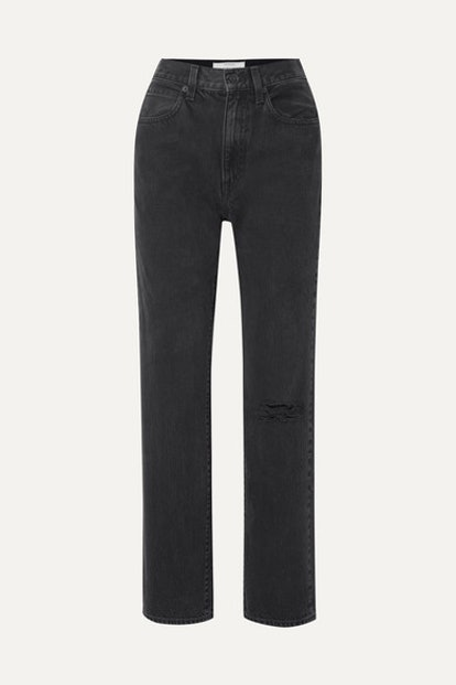 London distressed high-rise straight-leg jeans
