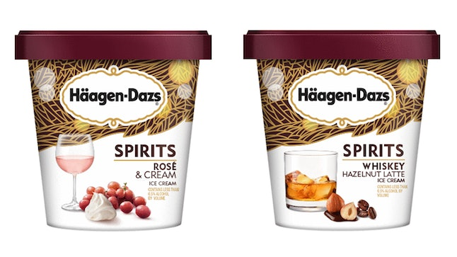 Haagen-Dazs new Spirits Collection flavors include rose & cream and whiskey hazelnut latte.
