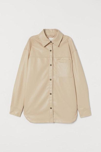 Faux Leather-Shirt Jacket