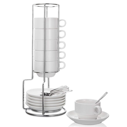 Aozita Espresso Cups and Saucers Set with Stand