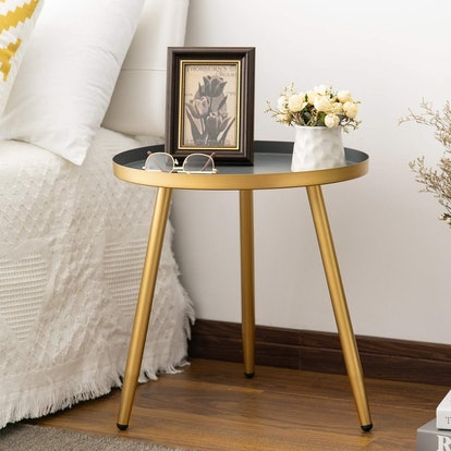 Gold & Gray Round Side Table by Aojezor